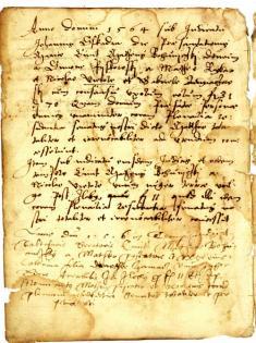 Fragment mestskej knihy zo 16.storočia