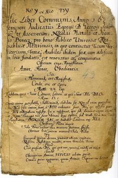 Latinský úvod mestskej knihy zroku 1676